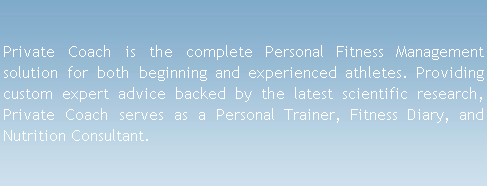 Private Coach : Your Personal Training software, nutrition tracker, and training diary!